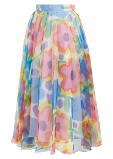 Christopher Kane Floral-print pleated organza skirt