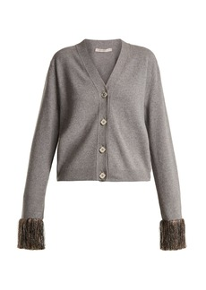 Christopher Kane Fringed-cuff wool and cashmere-blend cardigan