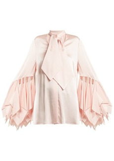 Christopher Kane Handkerchief-sleeve satin blouse