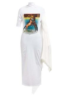Christopher Kane Horsepower asymmetric-sleeve dress