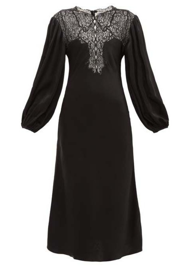 Christopher Kane Lace-bodice balloon-sleeve satin dress