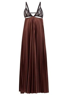 Christopher Kane Lace-bodice pleated satin maxi dress