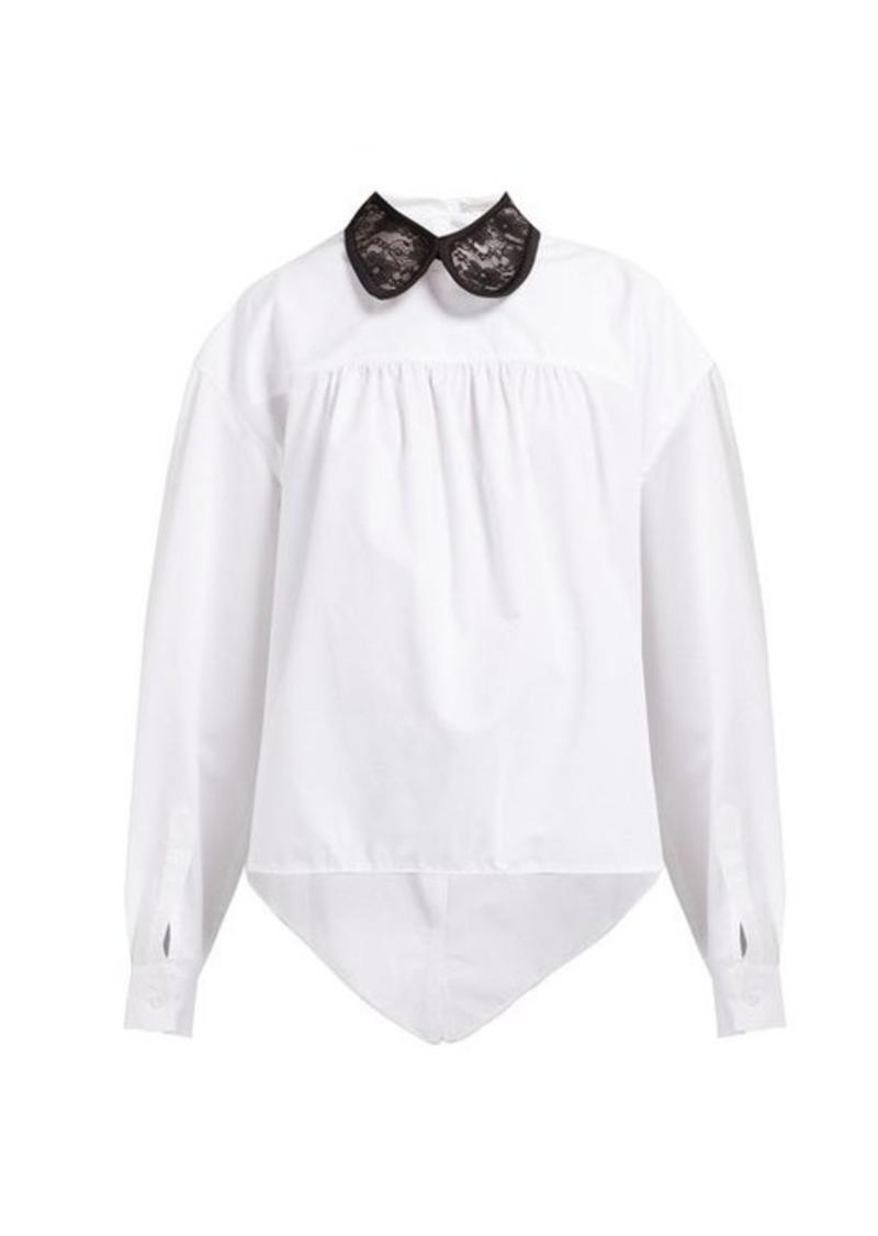 Christopher Kane Lace-collar asymmetric cotton-poplin shirt