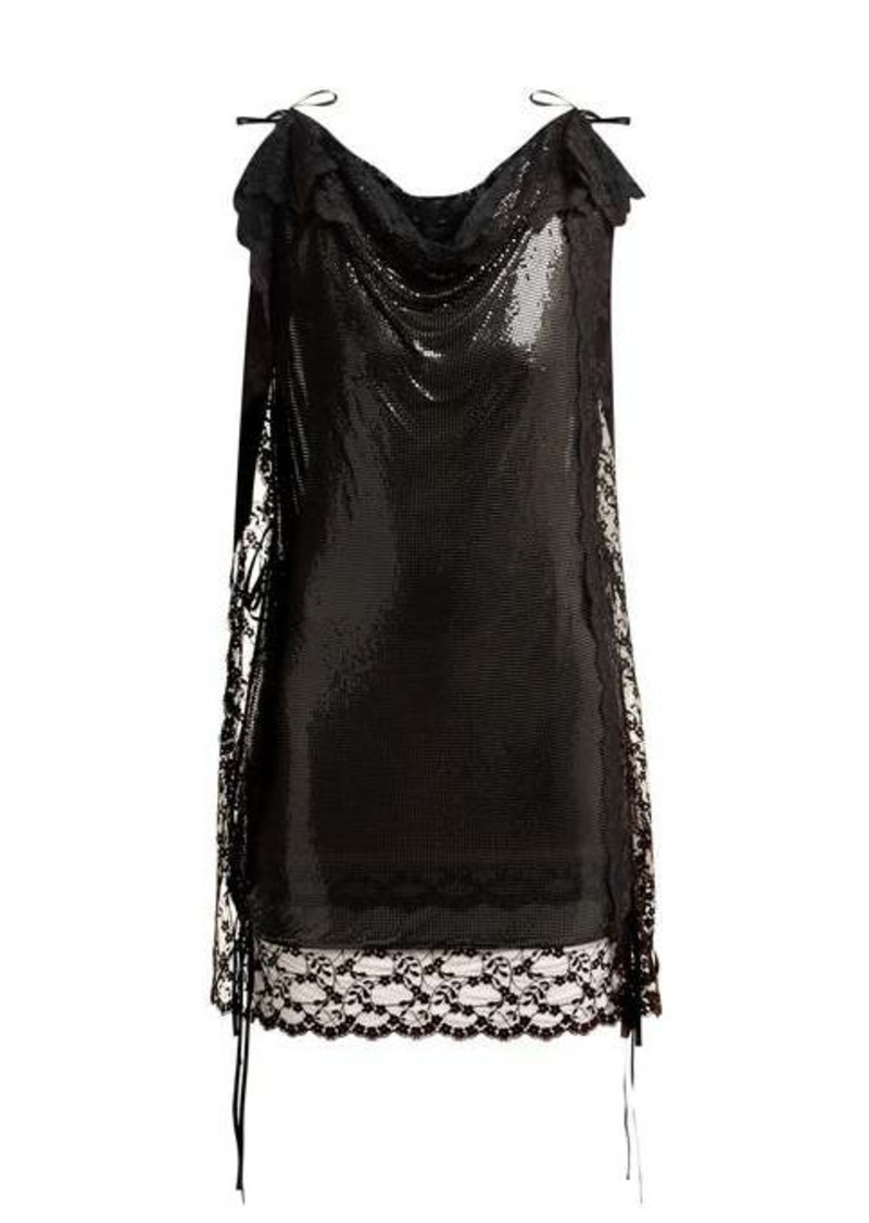 Christopher Kane Lace-trim chainmail mini dress