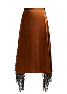 Christopher Kane Lace-trimmed satin midi skirt