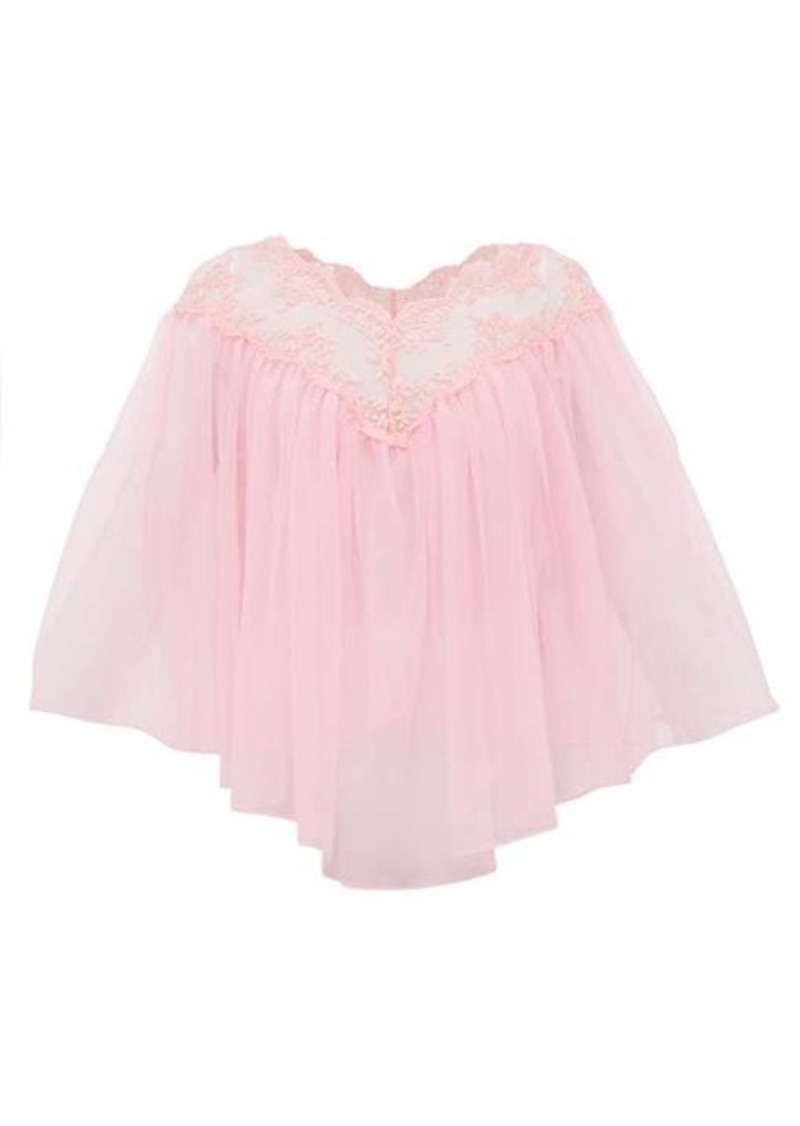 Christopher Kane Lace-trimmed tulle cape top