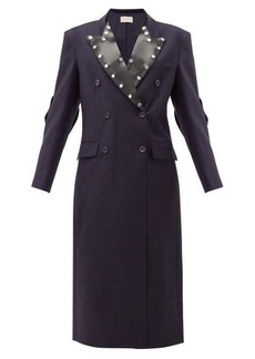 Christopher Kane Latex-panel double-breasted wool coat