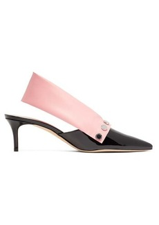 Christopher Kane Latex-strap patent-leather slingback pumps