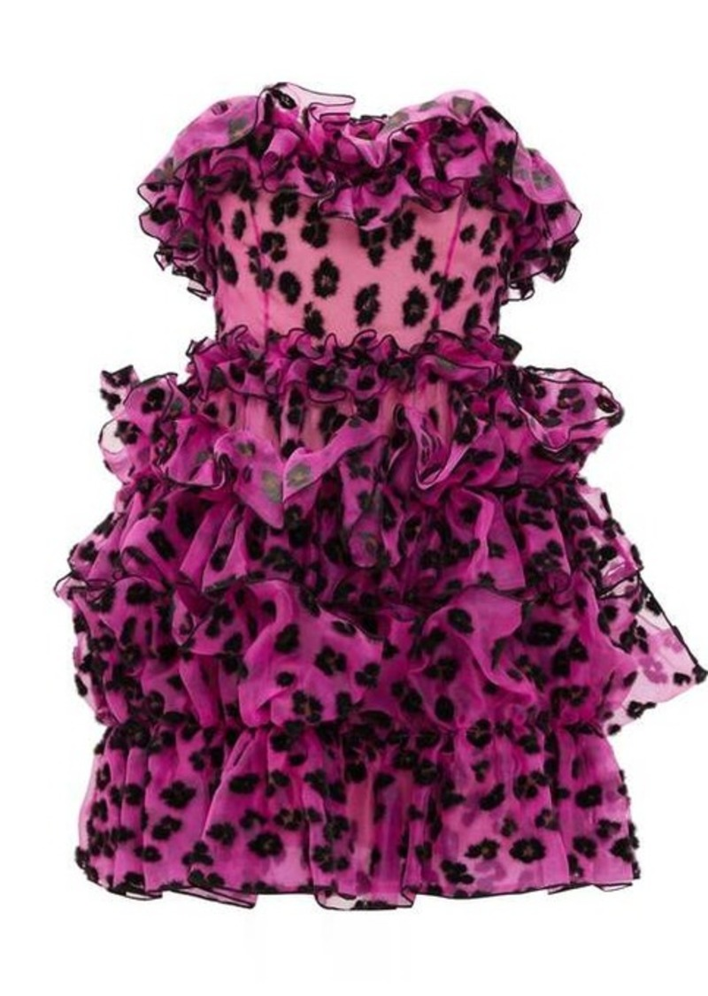 Christopher Kane Leopard-flocked ruffled silk-organza mini dress