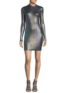Christopher Kane Long-Sleeve Foil Metallic Bodycon Mini Dress