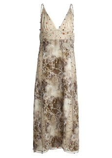Christopher Kane Marble-print embroidered cady and georgette dress