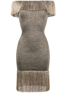Christopher Kane off-shoulder fringed knee-length dress - Metallic