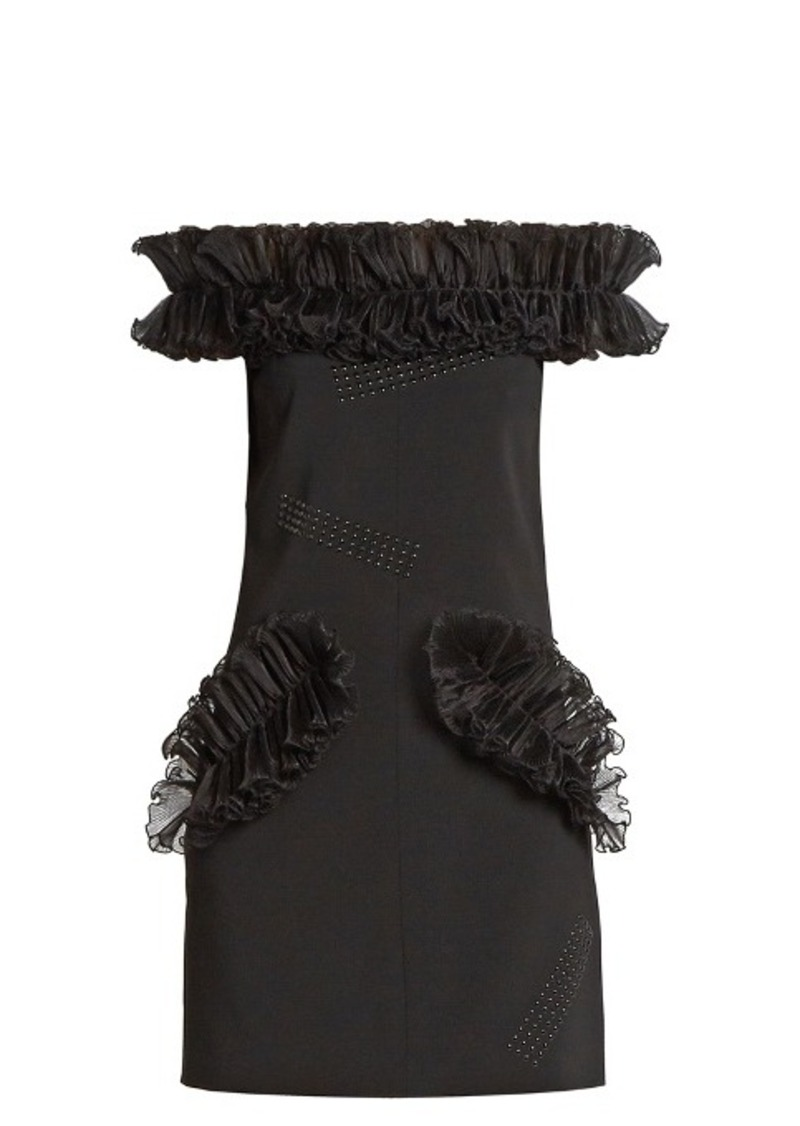 Christopher Kane Off-the-shoulder ruffled mini dress