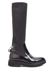 Christopher Kane Padlock neoprene and leather knee-high boots