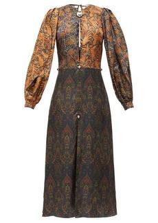 Christopher Kane Paisley dome-embellished patchwork satin dress