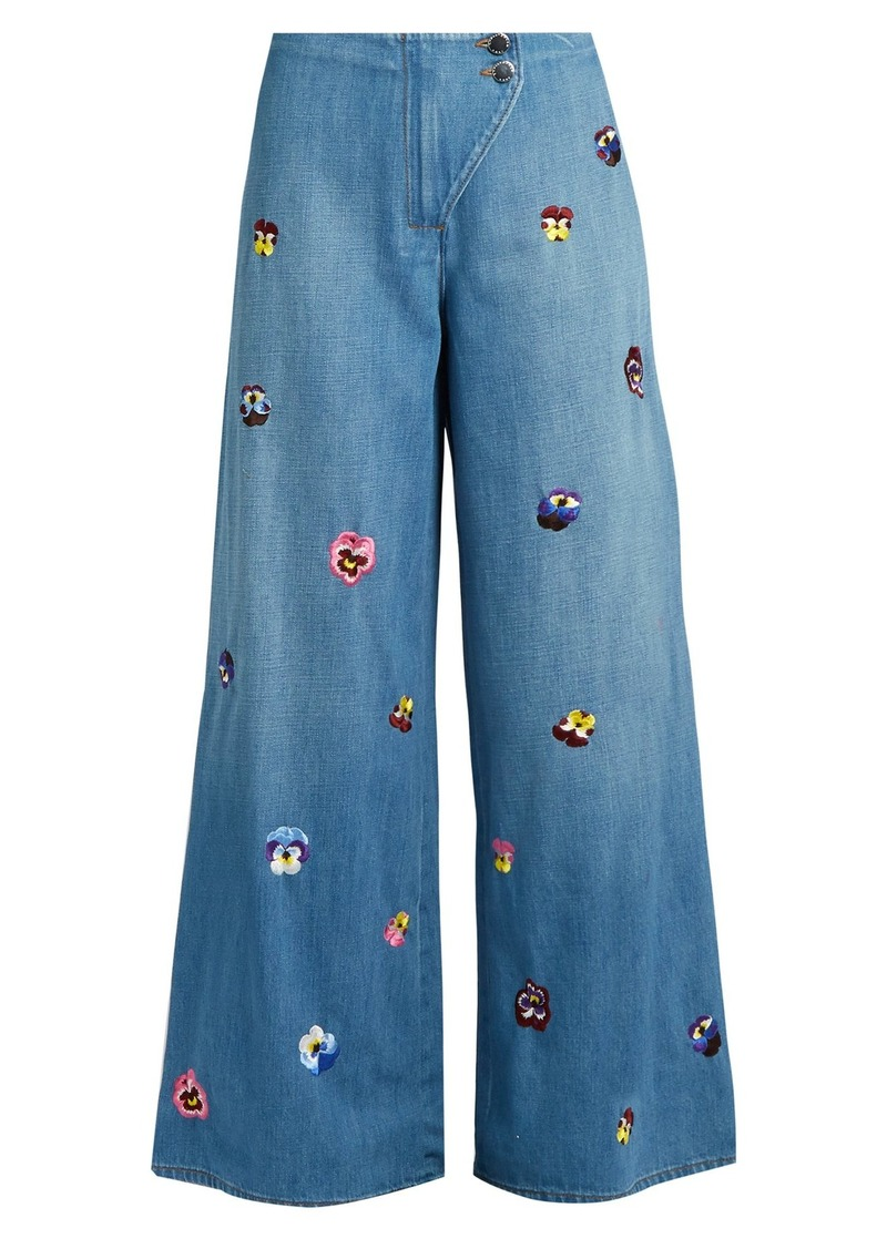 Christopher Kane Pansy-embroidered wide-leg jeans