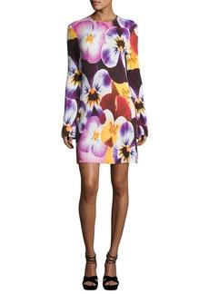 Christopher Kane Pansy-Print Long-Sleeve Dress