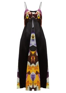 Christopher Kane Pansy-print silk-crepe slip dress