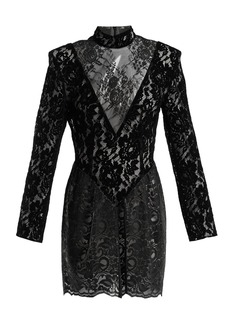 Christopher Kane Patchwork flocked velvet lace mini dress