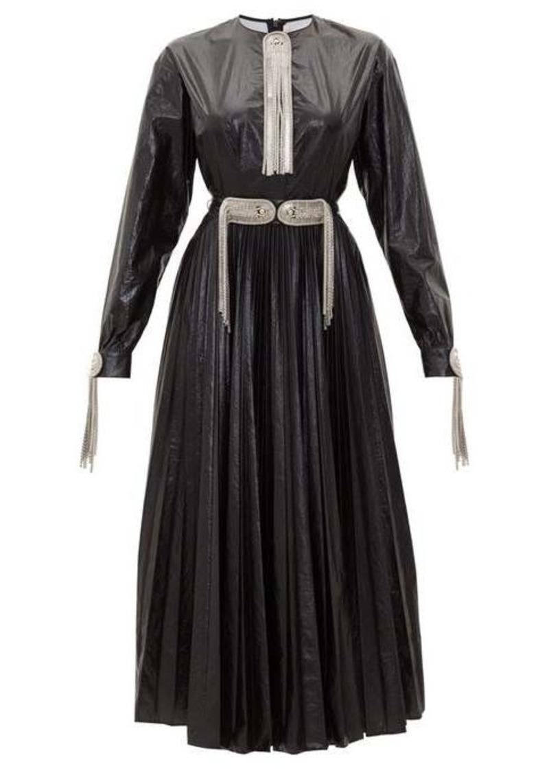 Christopher Kane Chain-plaque & tassel technical shell midi dress