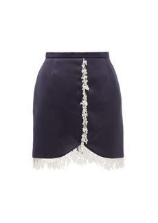 Christopher Kane Pearl-drop fringe satin mini skirt