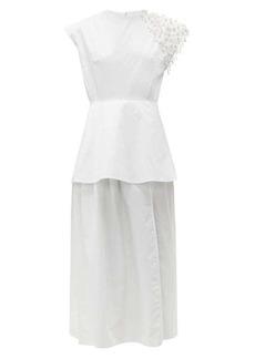 Christopher Kane Pearl-embellished cotton-poplin dress