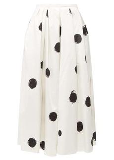 Christopher Kane Polka-dot cotton-blend charmeuse midi skirt