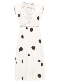 Christopher Kane Polka-dot squiggle-cupchain crepe midi dress