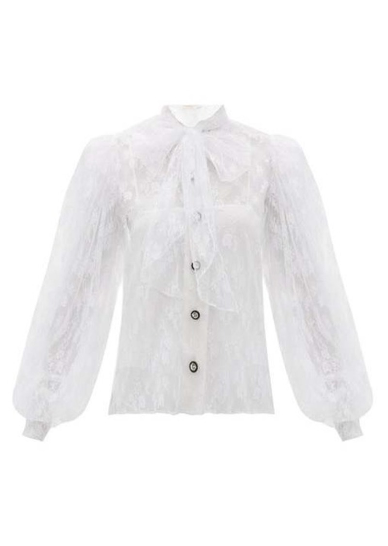 Christopher Kane Pussy-bow floral Chantilly-lace blouse