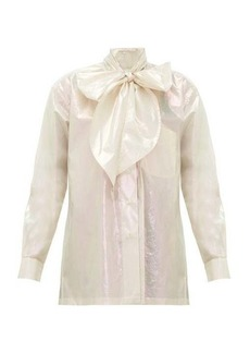 Christopher Kane Pussy-bow iridescent cotton blouse