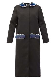Christopher Kane PVC-collar and pocket satin coat