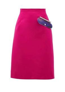Christopher Kane PVC-pocket A-line satin skirt