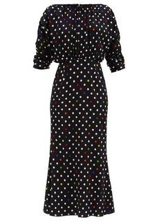 Christopher Kane Rainbow polka dot gathered midi dress