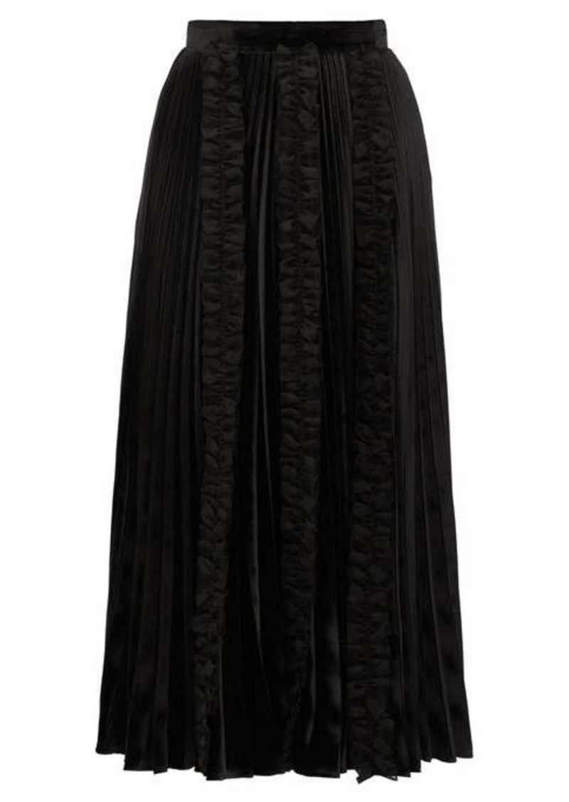 Christopher Kane Ruffle-trim pleated velvet midi skirt