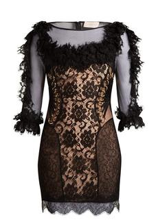 Christopher Kane Ruffled lace short dress