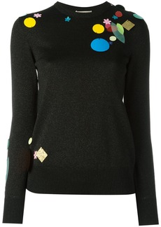 Christopher Kane sequin detail metallic sweater - Black