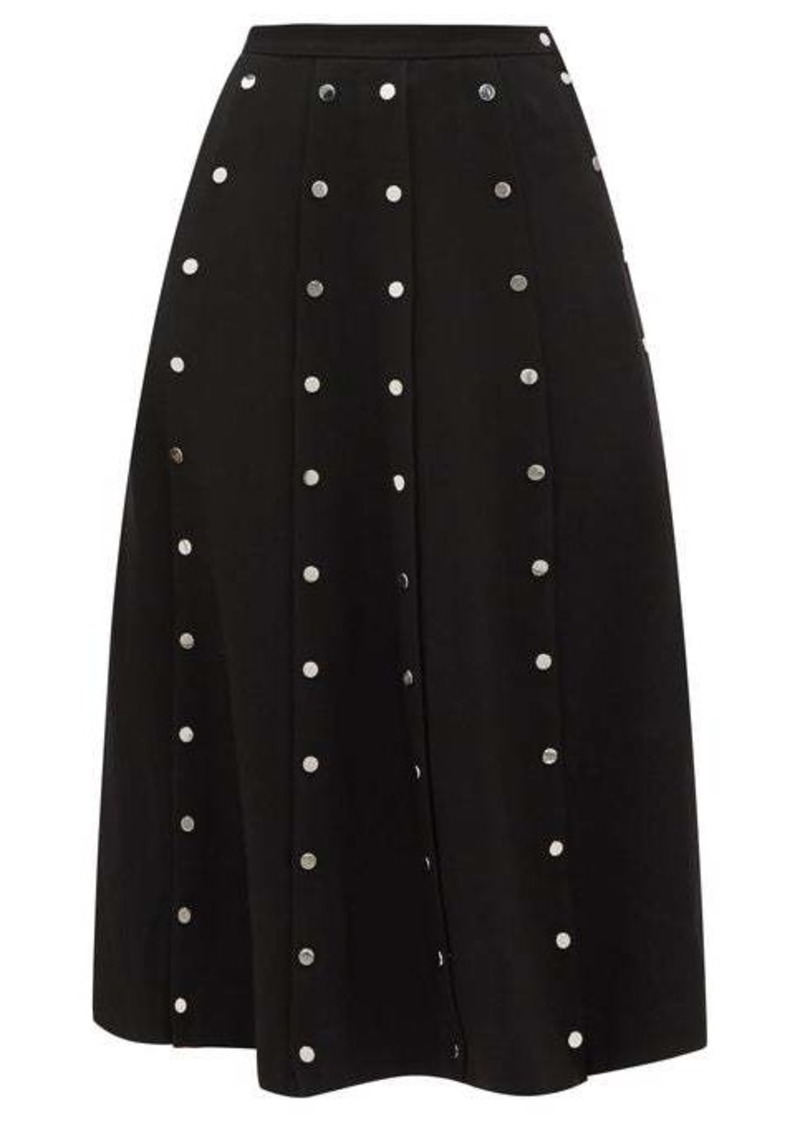 Christopher Kane Snap-embellished stretch-crepe midi skirt