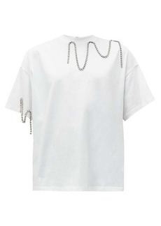 Christopher Kane Squiggle cupchain-embellished cotton T-shirt