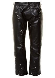 Christopher Kane Staple-embellished straight-leg leather trousers
