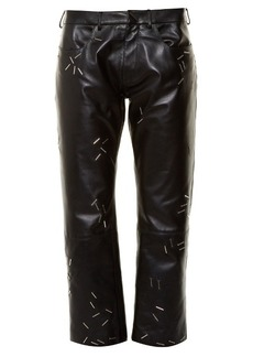 Christopher Kane Staple-embellished straight-leg leather trousers