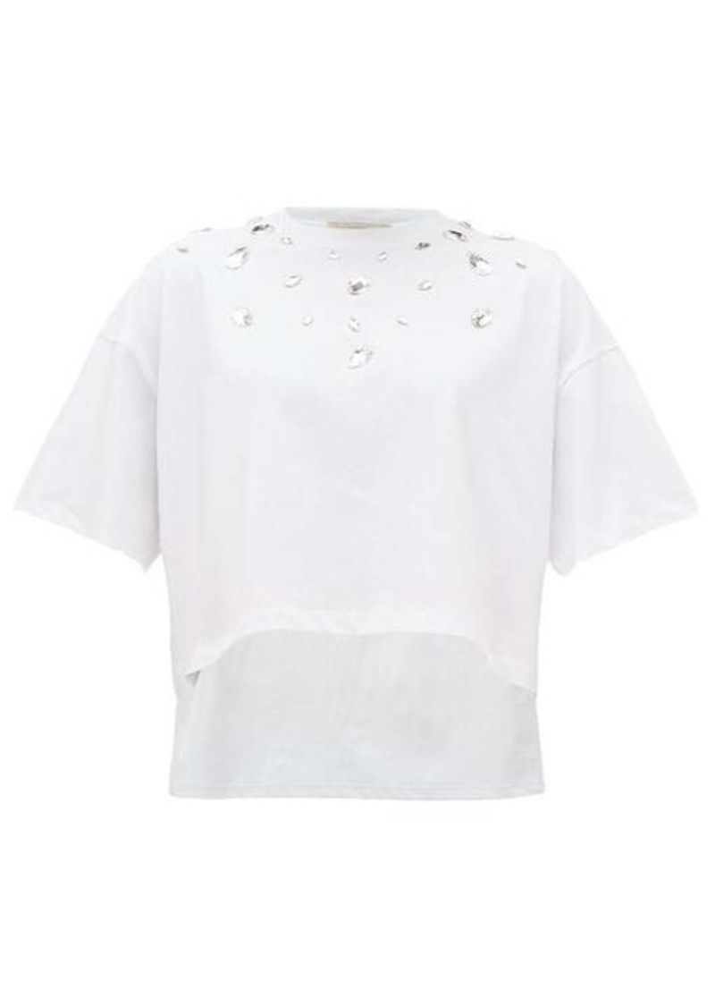 Christopher Kane Step-hem crystal-embellished cotton T-shirt