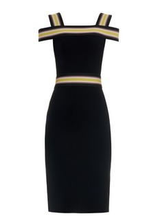 Christopher Kane Striped-strap off-the-shoulder dress