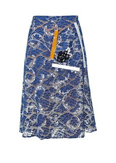Christopher Kane Tape and sequin-embellished lace skirt