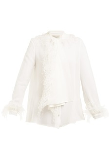 Christopher Kane Tie-neck feather-embellished silk blouse