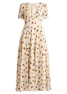 Christopher Kane V-neck pansy-print silk dress