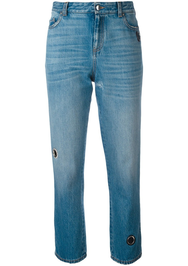 Christopher Kane vintage wash denim with eyelet detail