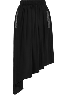 Christopher Kane Woman Asymmetric Crystal-embellished Crepe De Chine Midi Skirt Black
