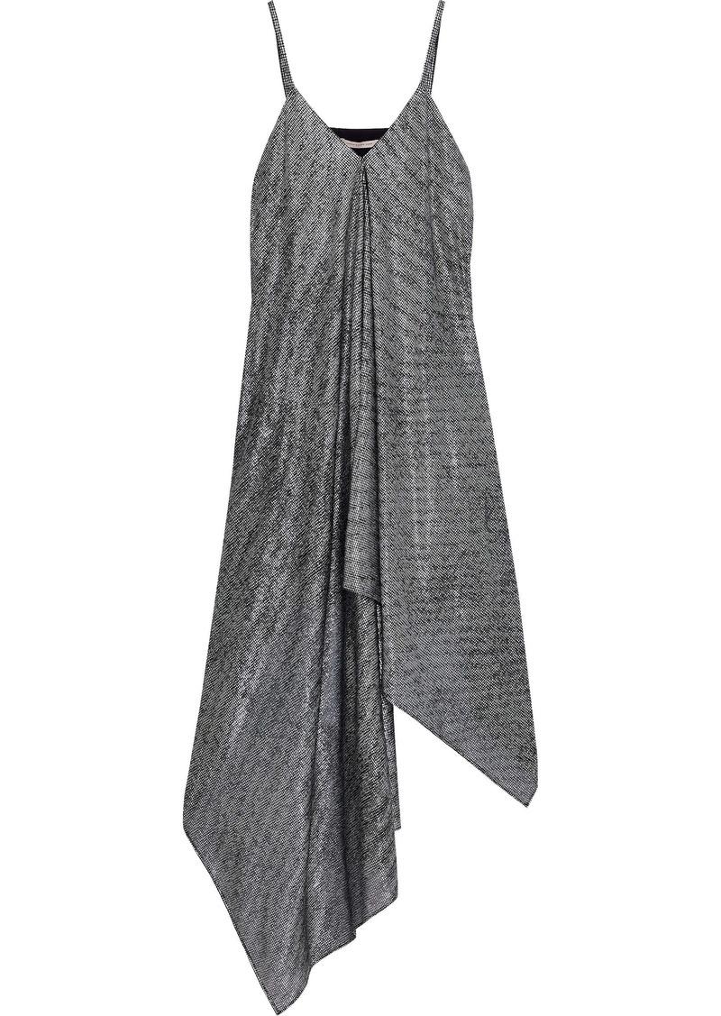 Christopher Kane Woman Asymmetric Draped Metallic Mesh Midi Dress Silver
