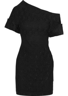 Christopher Kane Woman Asymmetric Lace Mini Dress Black