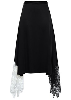 Christopher Kane Woman Asymmetric Lace-paneled Satin Skirt Black